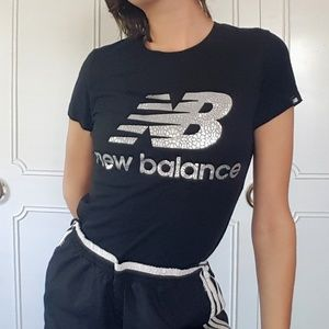New Balance silver metallic logo tee